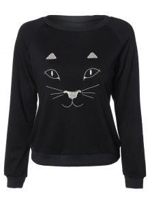 Kitten Embroidered Funny Sweatshirt - Black L