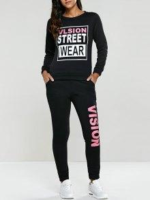 Letter Graphic Sweatshirt and Sweatpants