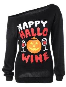 Skew Collar Pumpkin Print Halloween Sweatshirt