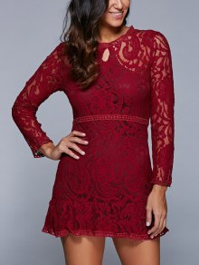 A-Line See-Through Dress - Wine Red
