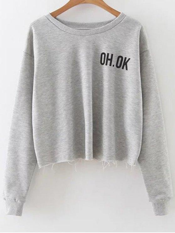 Raw Edge Slouchy Cropped Sweatshirt - GRAY L Mobile