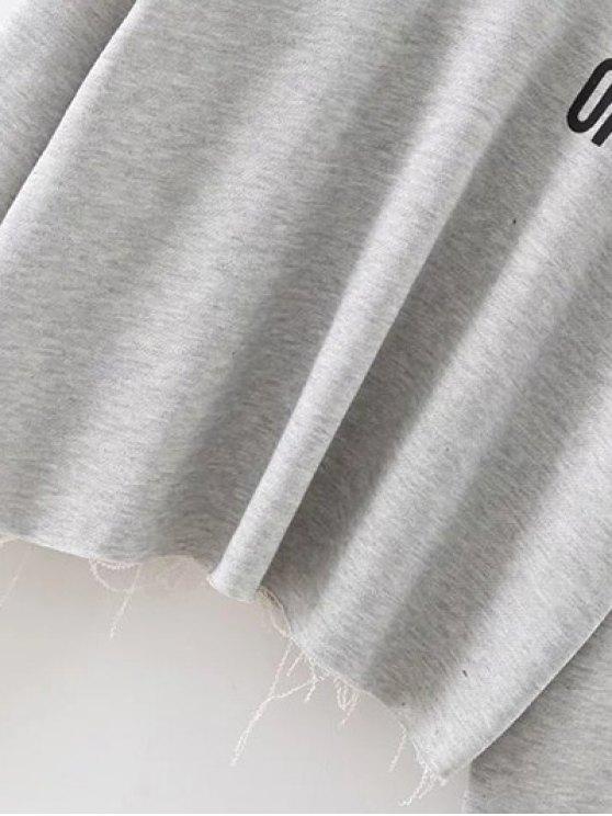 Raw Edge Slouchy Cropped Sweatshirt - GRAY S Mobile