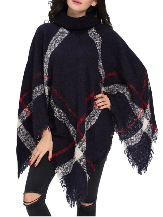 buy Turtle Neck Checked Knit Poncho - DEEP BLUE ONE SIZE