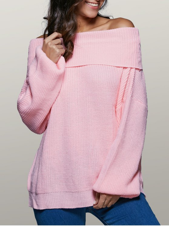 affordable Foldover Off The Shoulder Sweater - PINK S