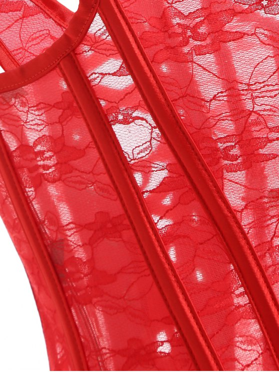 Lace Up Laciness See Thru Corset - RED L Mobile