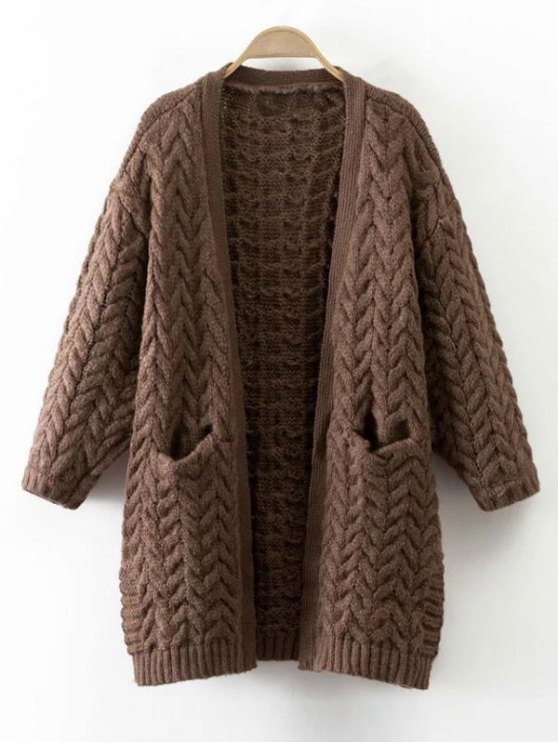 latest Thickening Cable Knit Cardigan - COFFEE ONE SIZE