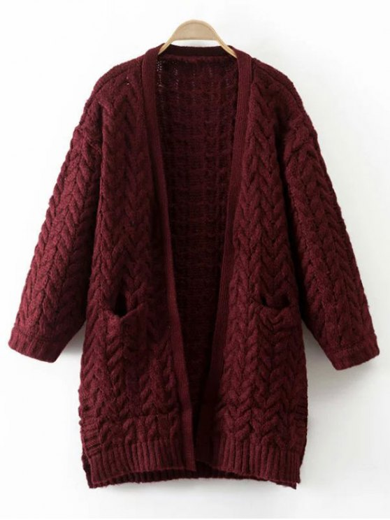 Thickening Cable Knit Cardigan - WINE RED ONE SIZE Mobile