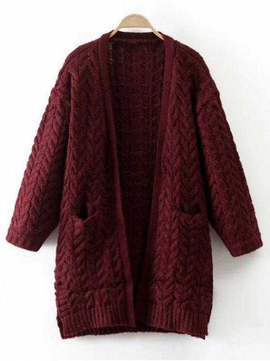 El engrosamiento del tejido en cable Cardigan - Vino Rojo Única Talla