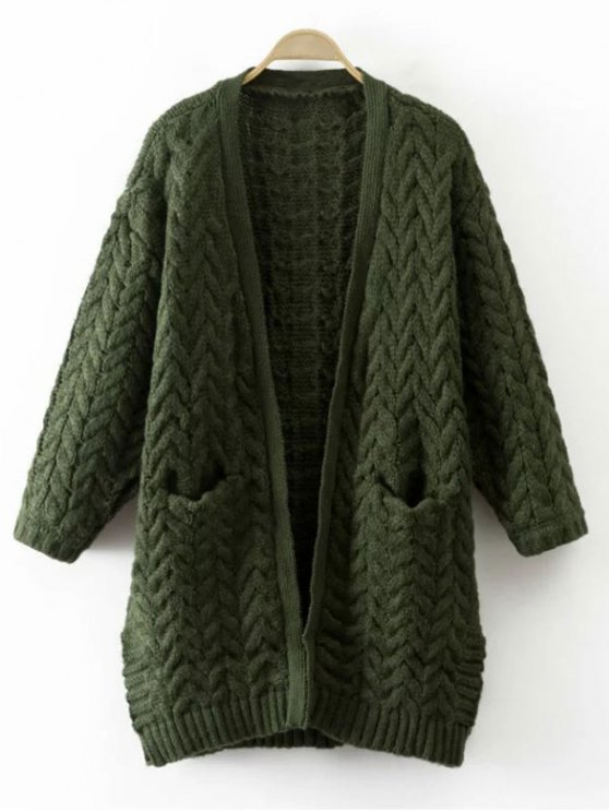 fashion Thickening Cable Knit Cardigan - GREEN ONE SIZE