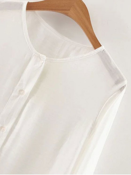 Long Sleeve Buttoned Tunic Top - WHITE S Mobile