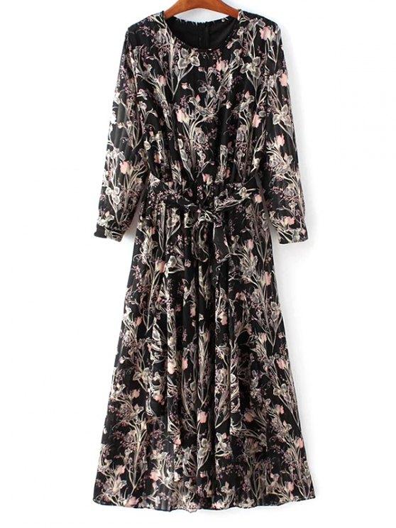 online Chiffon Belted Floral Dress - BLACK M