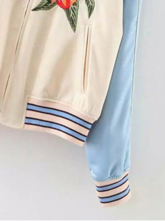 Baseball Raglan Sleeve Jacket - APRICOT M Mobile