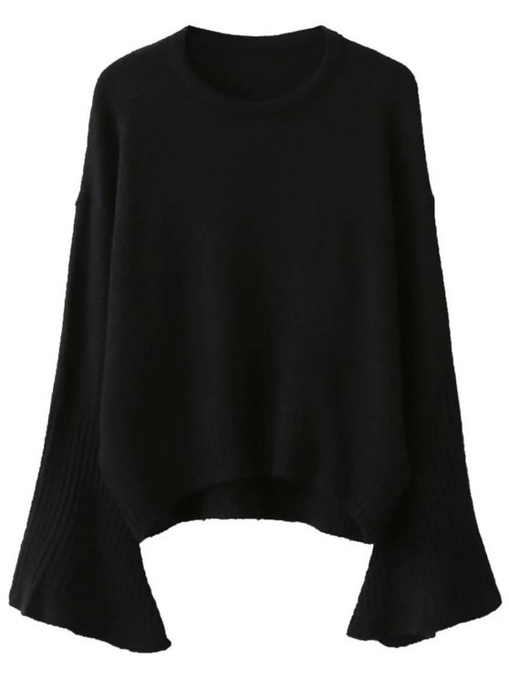 outfit Flare Sleeve Sweater - BLACK ONE SIZE