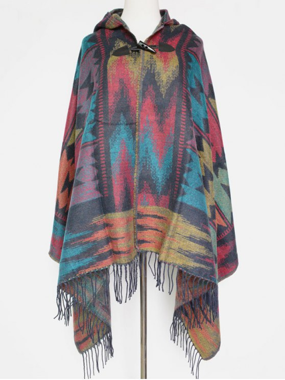 Grometric Fringe with Hat Poncho - GRAY  Mobile