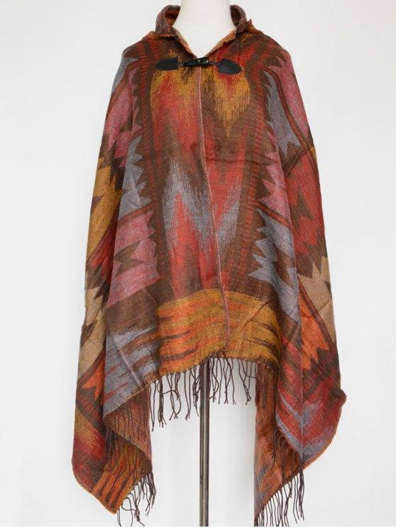 Grometric Fringe with Hat Poncho - VERMILION  Mobile