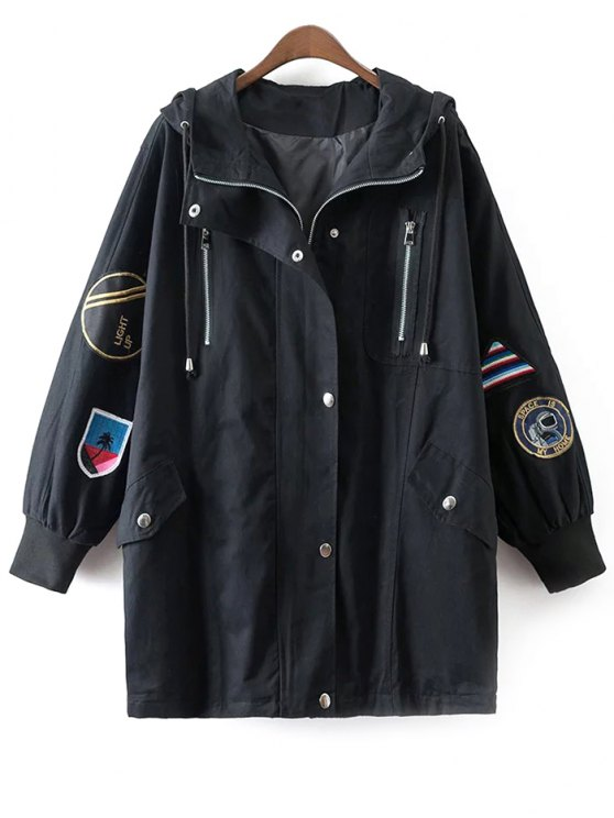 Hooded Patched Trench Coat - BLACK ONE SIZE Mobile