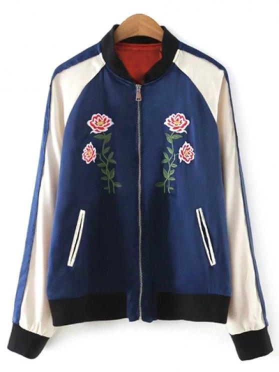 Color Block Floral Jacket - PURPLISH BLUE M Mobile