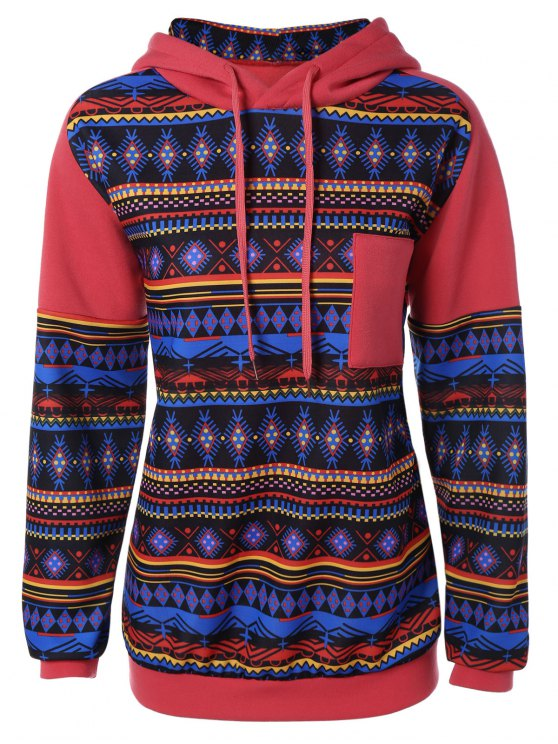 buy Thick Geometric Hoodie - RED XL