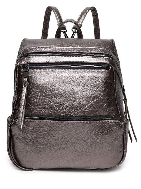 Zippers Metallic PU Leather Backpack - GUN METAL  Mobile