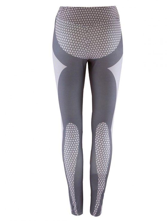 Panelled Print Leggings - GRAY S Mobile