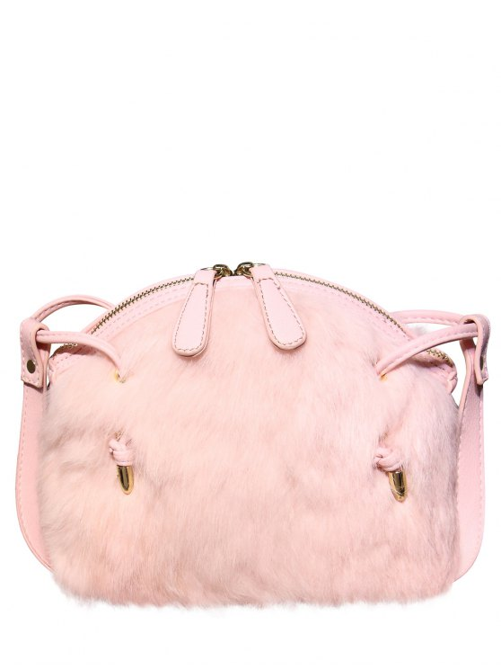 unique PU Leather Splicing Fuzzy Bag - PINK