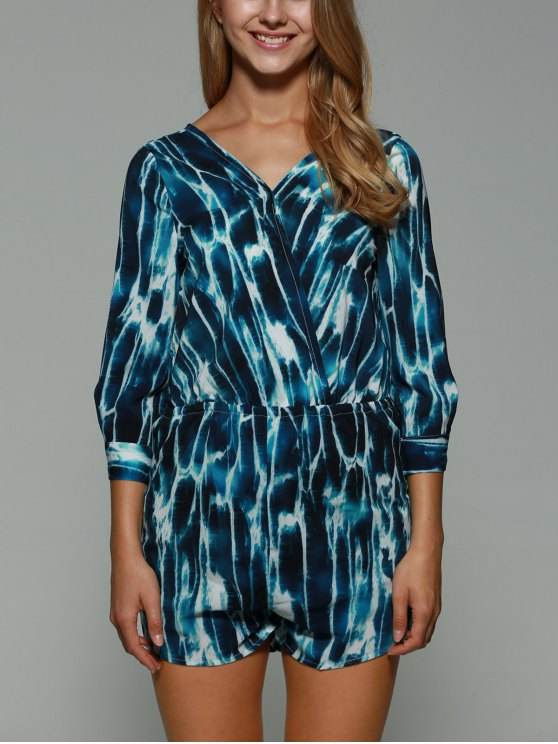outfit Print Backless Plunging Neck Long Sleeve Playsuit - COLORMIX M