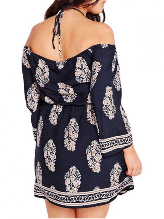 Three Quarter Sleeve Cold Shoulder Dress - DEEP BLUE 3XL Mobile