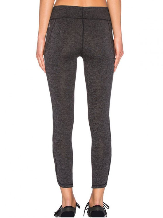 Sporty Cutout Tight Fit Leggings - DEEP GRAY L Mobile