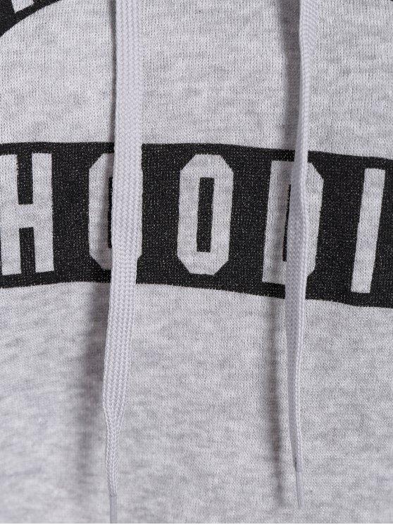 Front Pocket Letter Print Drawstring Hoodie - LIGHT GRAY L Mobile