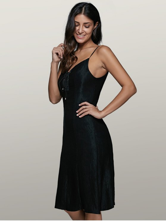 Lace-Up Fitting Slip Dress - BLACK XL Mobile