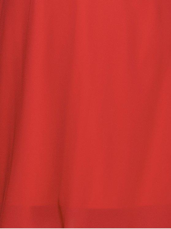 Flounce Ruffles Off The Shoulder Mini Dress - RED 2XL Mobile