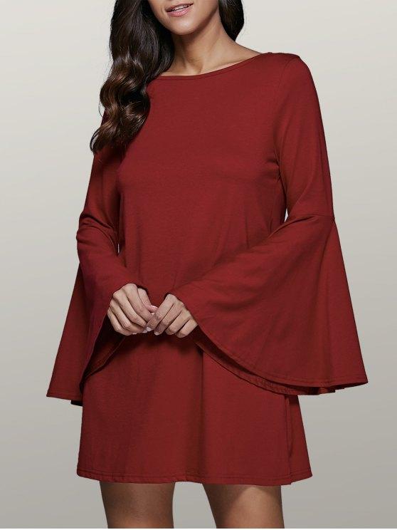 Llamarada de la manga del vestido del oscilación - Dark Red XL