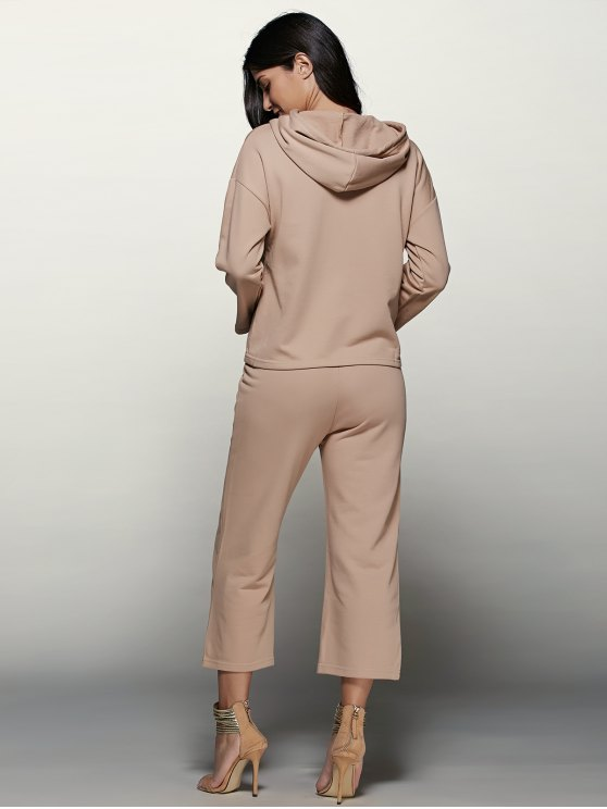 Pullover Hoodie With Culotte Pants - APRICOT S Mobile