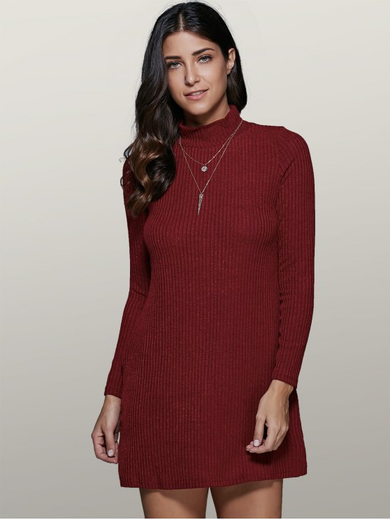 Mini A Line Long Sleeve Sweater Dress - WINE RED S Mobile