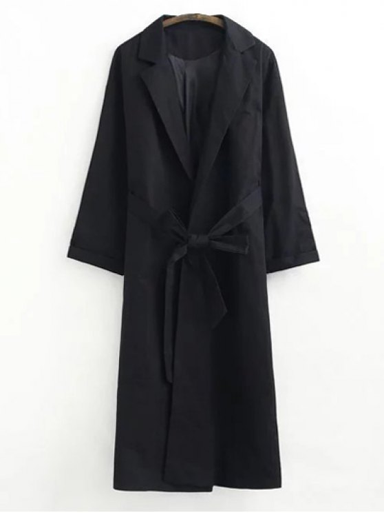 trendy Buttonless Raglan Sleeve Trench Coat - BLACK S