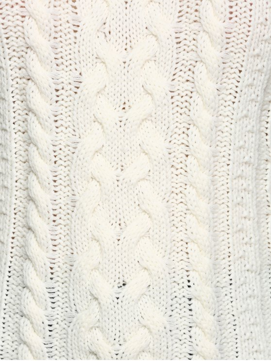 Cable Knit Cold Shoulder Pullover Sweater - OFF-WHITE L Mobile