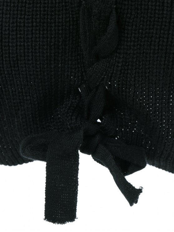 Drop Shoulder Lace Up Sweater - BLACK L Mobile