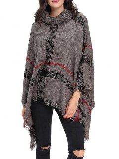 Turtle Neck Checked Knit Poncho - Gray
