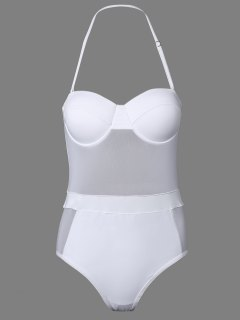 One-Piece Bandeau See Through Bathing Suit - White S