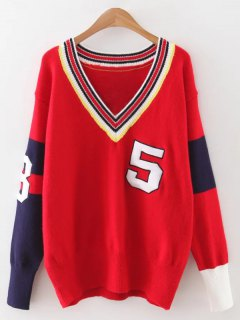 Sports Color Block Knitwear - Red