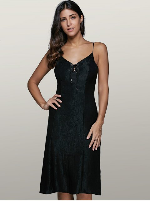 shop Lace-Up Fitting Slip Dress - BLACK M Mobile
