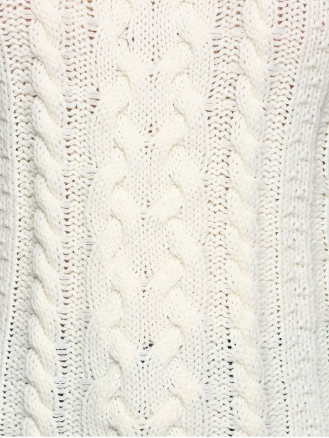 fashion Cable Knit Cold Shoulder Pullover Sweater - OFF-WHITE L Mobile