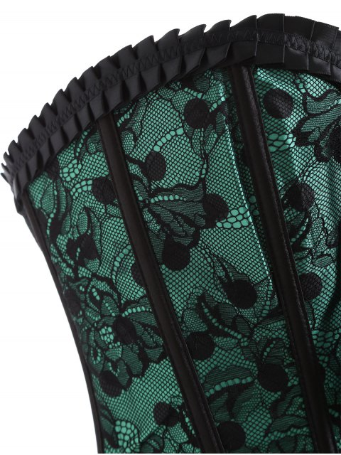 outfits Steel Boned Sweetheart Neck Lace Corset - GREEN XL Mobile
