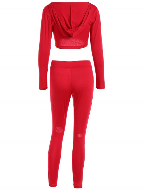 affordable Cropped Hoodie and Distressed Pants - RED M Mobile