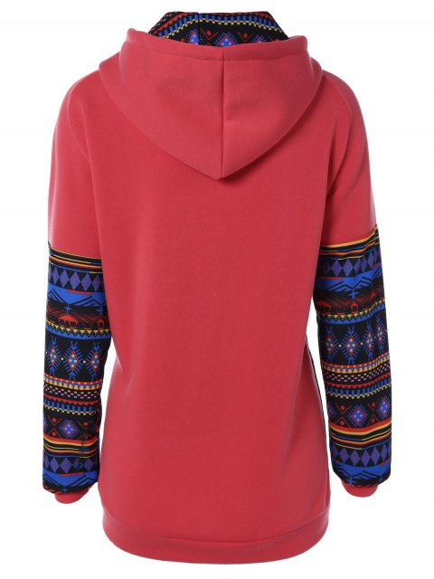 women Thick Geometric Hoodie - RED M Mobile