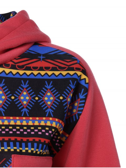 womens Thick Geometric Hoodie - RED L Mobile