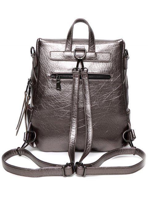 shops Zippers Metallic PU Leather Backpack - GUN METAL  Mobile