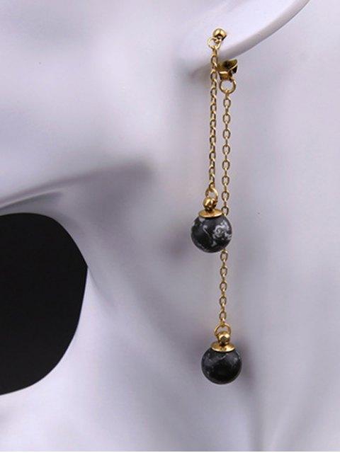 women Double Side Ball Earrings - BLACK  Mobile