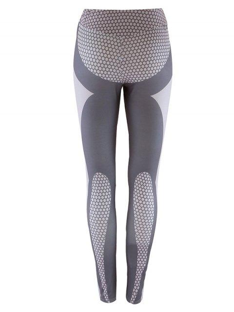unique Panelled Print Leggings - GRAY S Mobile