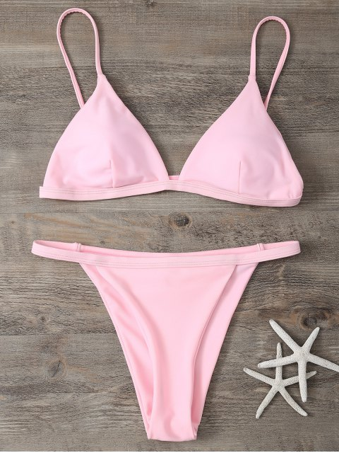 women Low Waisted Spaghetti Strap Bikini Swimwear - PINK S Mobile